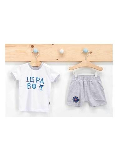 U.S. Polo Assn. Lisanslı Marine Beyaz Erkek Bebek T-Shirt Takım Beyaz